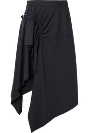Asymmetric pinstriped wool-blend skirt