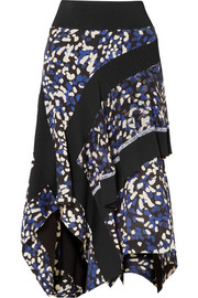 Asymmetric printed silk crepe de chine  midi skirt