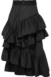 Ruffled cotton midi skirt