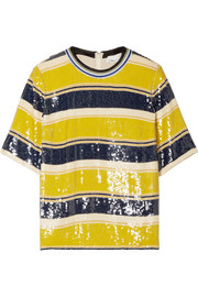 Striped sequined silk T-shirt