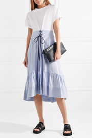 Lace-up cotton-jersey and striped poplin midi dress