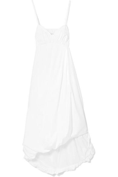 Sleeveless Empire-Waist Cotton Bubble Dress, Optic White
