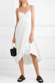 Shirred cotton-poplin midi dress