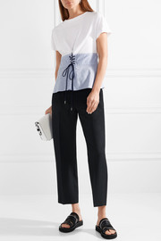 Lace-up cotton-jersey and striped poplin top