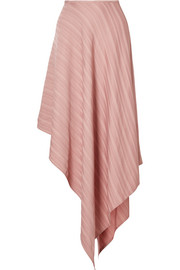 Asymmetric satin-jacquard skirt