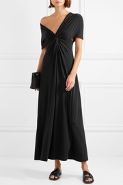 Twist-front stretch-knit maxi dress