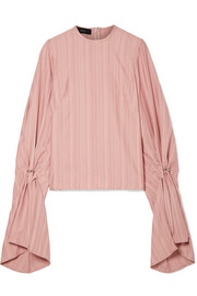 Embellished satin-jacquard top