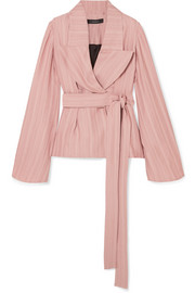 Wrap-effect satin-jacquard jacket