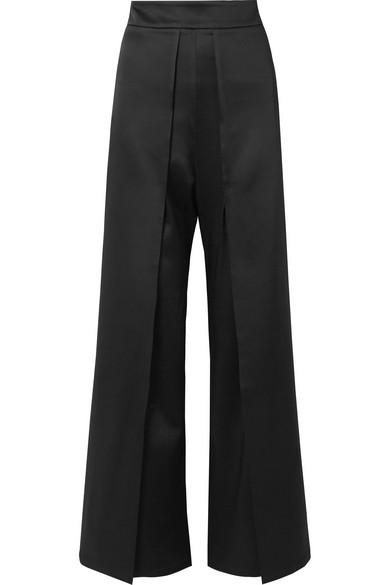 SID NEIGUM Layered Satin Straight-Leg Pants in Black