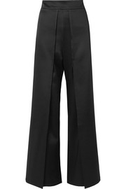 Layered satin straight-leg pants