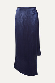 Wrap-effect hammered-satin midi skirt