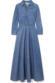Marley embroidered cotton-chambray midi dress