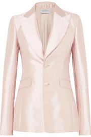 Serge silk and wool-blend blazer