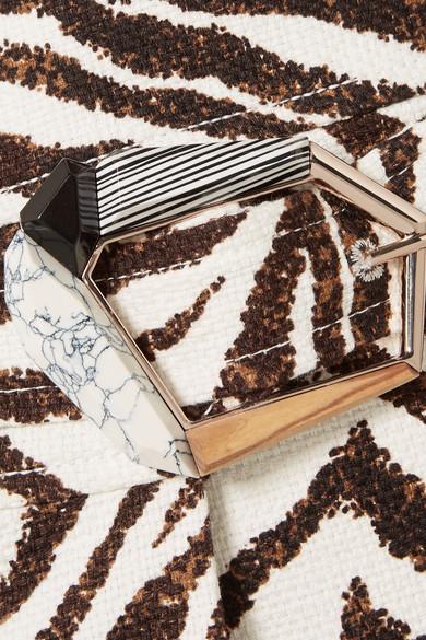 Gabriela Hearst Linda Wickelrock in Midilänge aus Baumwoll-Canvas mit Zebraprint