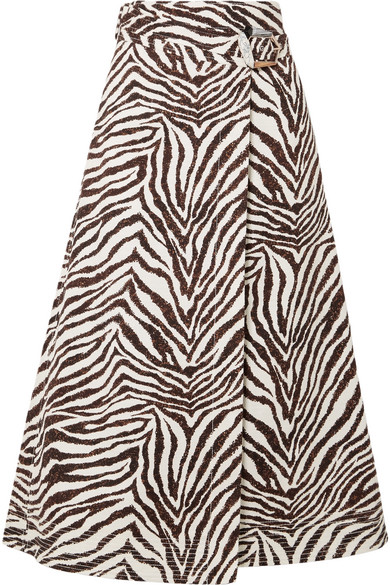 Gabriela Hearst - Linda Zebra-print Cotton-canvas Wrap Midi Skirt - Zebra print