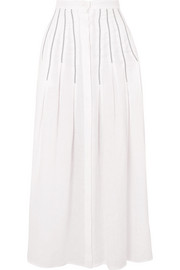 Joanne embroidered pleated linen midi skirt
