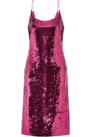 Oscar de la Renta Sequined silk-blend chiffon dress