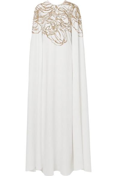 Auslass Zum Verkauf Günstig Kaufen Amazon Oscar de la Renta Robe aus verziertem Tüll und Seiden-Cady mit Cape-Effekt rDRGjEE