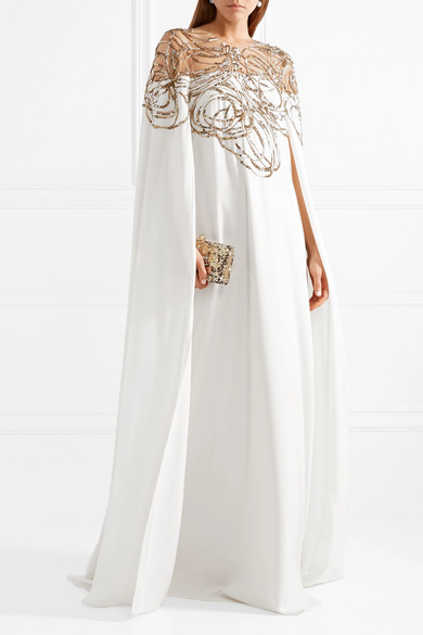 Cape-effect Embellished Tulle And Silk-cady Gown - Off-white Oscar De La Renta dq8N6y1T3c