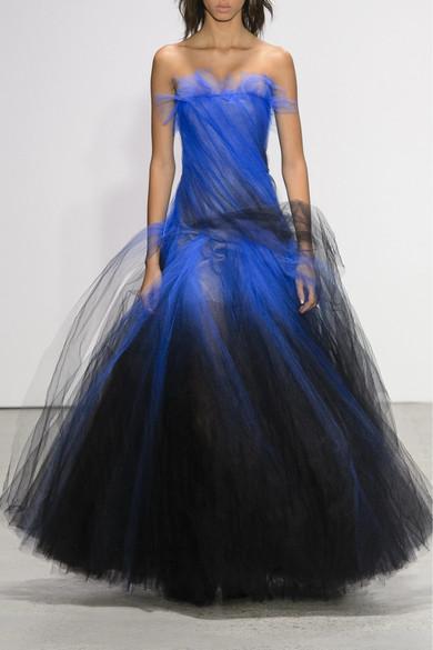 Trägerlose Robe Aus Tüll Mit Farbverlauf - Blau Oscar De La Renta egnrmxX
