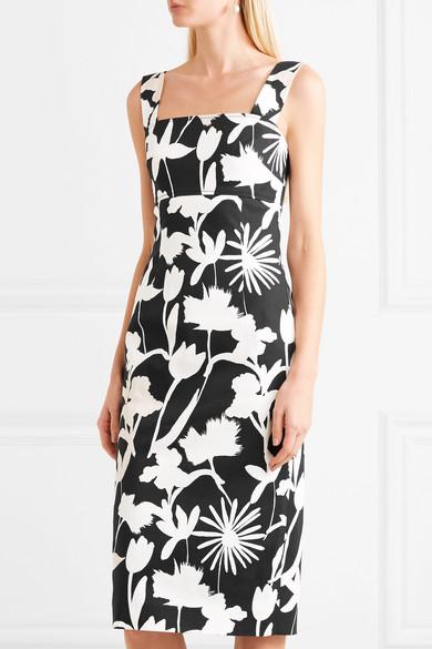 Oscar De La Renta Printed Dress In Twill From A Cotton Blend