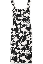 Printed cotton-blend twill dress