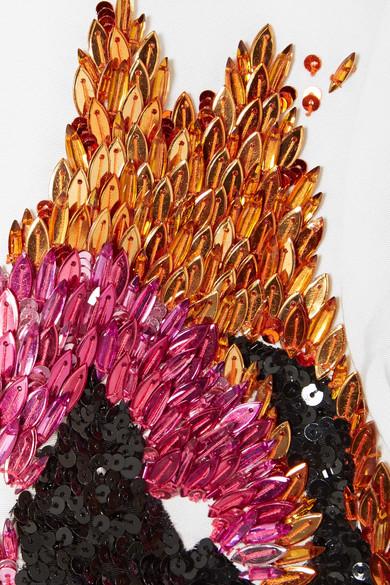 Oscar de la Renta Verzierte, zweifarbige Robe aus Seiden-Faille
