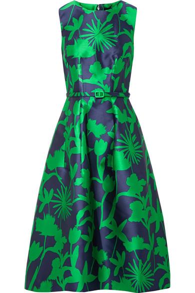 Oscar de la Renta Kleid aus glänzendem Jacquard-Twill mit Blumenmuster und Gürtel