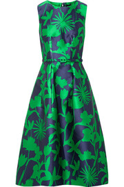 Oscar de la Renta Belted floral-jacquard satin-twill dress