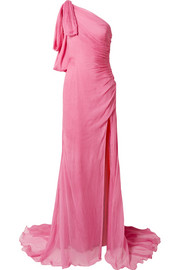 Oscar de la Renta One-shoulder crinkled silk-chiffon gown