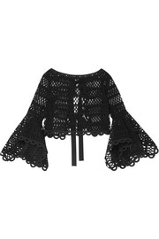 Caraco bow-embellished cotton-blend guipure lace and tulle top