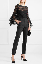 Oscar de la Renta Caraco bow-embellished cotton-blend guipure lace and tulle top