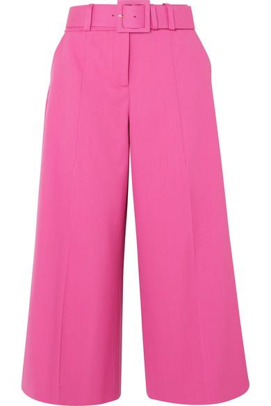 Oscar de la Renta - Belted Wool-blend Wide-leg Pants - Fuchsia