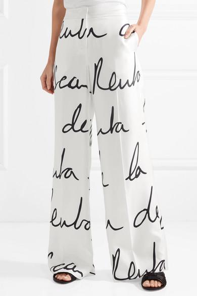 Pantalon À Jambe Large Imprimé Soie Twill - Blanc Oscar De La Renta BAFZaDHS8N