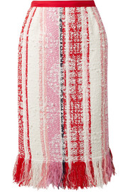 Oscar de la Renta Fringed tweed skirt