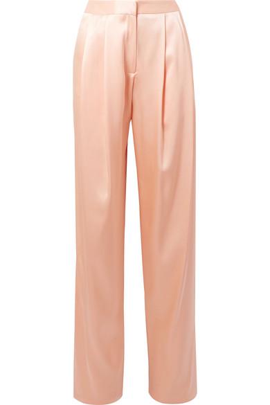 Adam Lippes Pleated Silk-charmeuse Wide-leg Pants In Peach