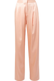 Adam Lippes Pleated silk-charmeuse wide-leg pants
