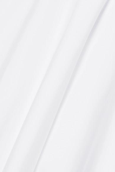 Adam Lippes Asymmetrisches Midikleid aus Baumwollpopeline mit Raffungen