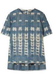 Adam Lippes Metallic tie-dyed denim top