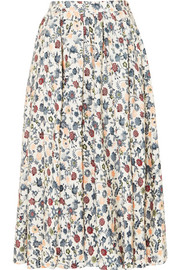 Adam Lippes Gathered floral-print silk-crepe midi skirt