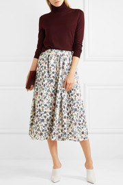 Gathered floral-print silk-crepe midi skirt