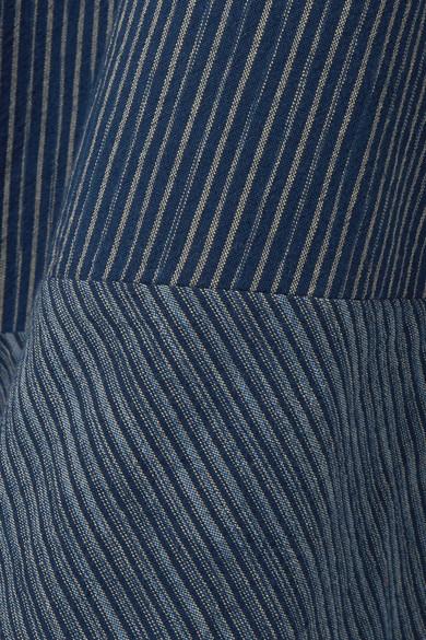 Adam Lippes Asymmetrischer Midirock aus gestreifter Baumwolle