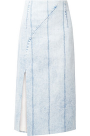 Corded denim midi skirt
