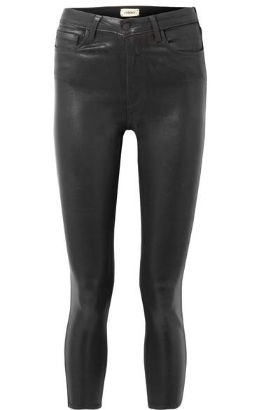 L'Agence Margot verkürzte, hoch sitzende Skinny Jeans mit Beschichtung