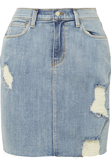 The Manuela Distressed Stretch-Denim Skirt in Light Denim