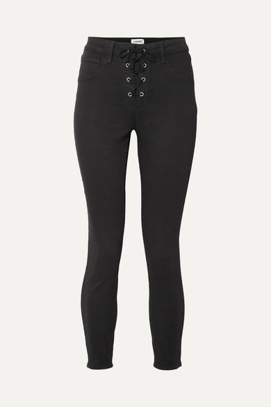 L'Agence Cherie hoch sitzende Skinny Jeans mit Schnürung