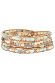 Chan Luu Leather and silver-tone multi-stone wrap bracelet
