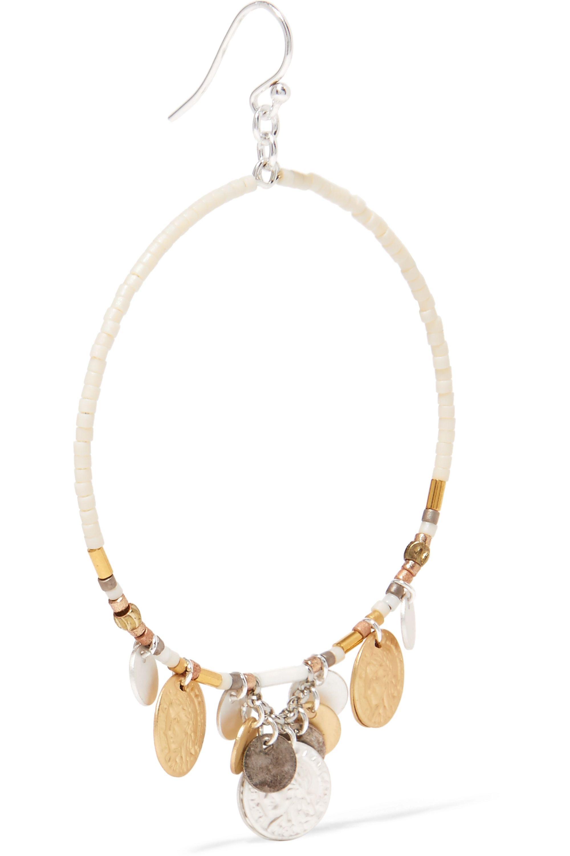 Chan Luu Silver-tone beaded hoop earrings