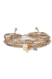Chan Luu Gold-tone beaded wrap bracelet