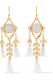 Chan Luu Tasseled gold-tone stone earrings
